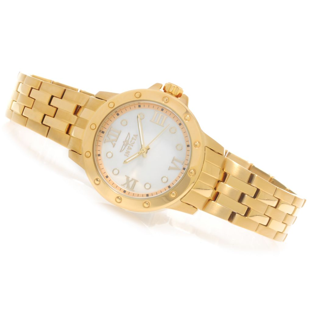 623-234 - Invicta Women's Angel Quartz Mother-of-Pearl Bracelet Watch w/ Travel Box