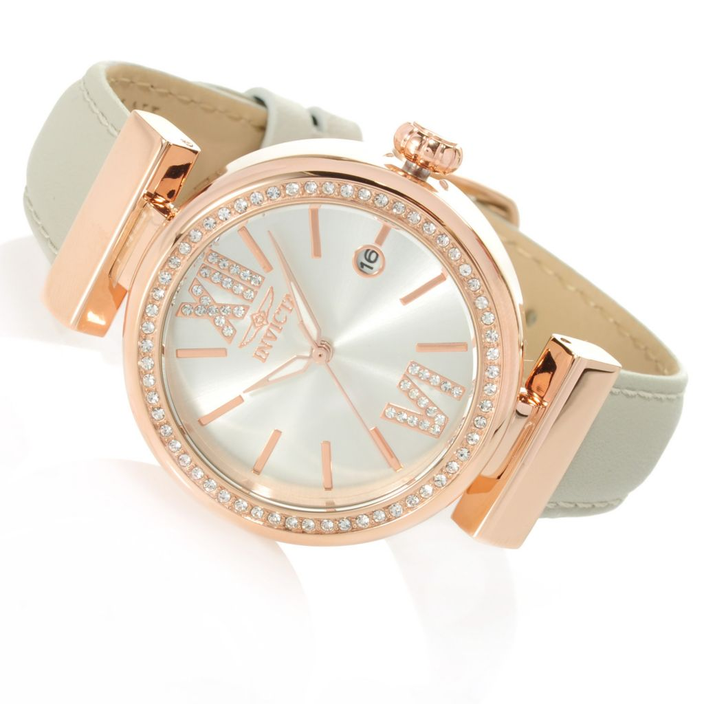 623-238 - Invicta Women's Wildflower Quartz Crystal Accented Leather Strap Watch w/ Travel Box