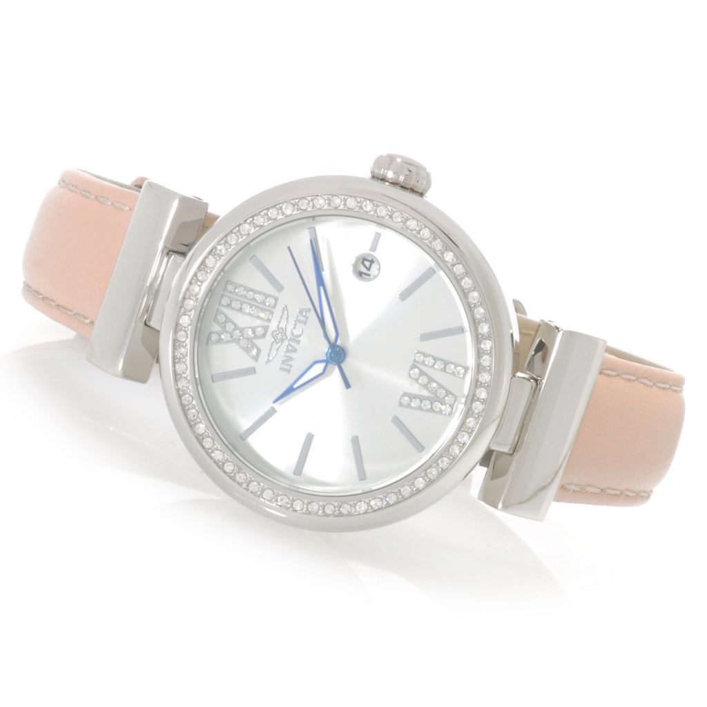 623-239 - Invicta Women's Wildflower Quartz Crystal Accented Leather Strap Watch w/ Travel Box