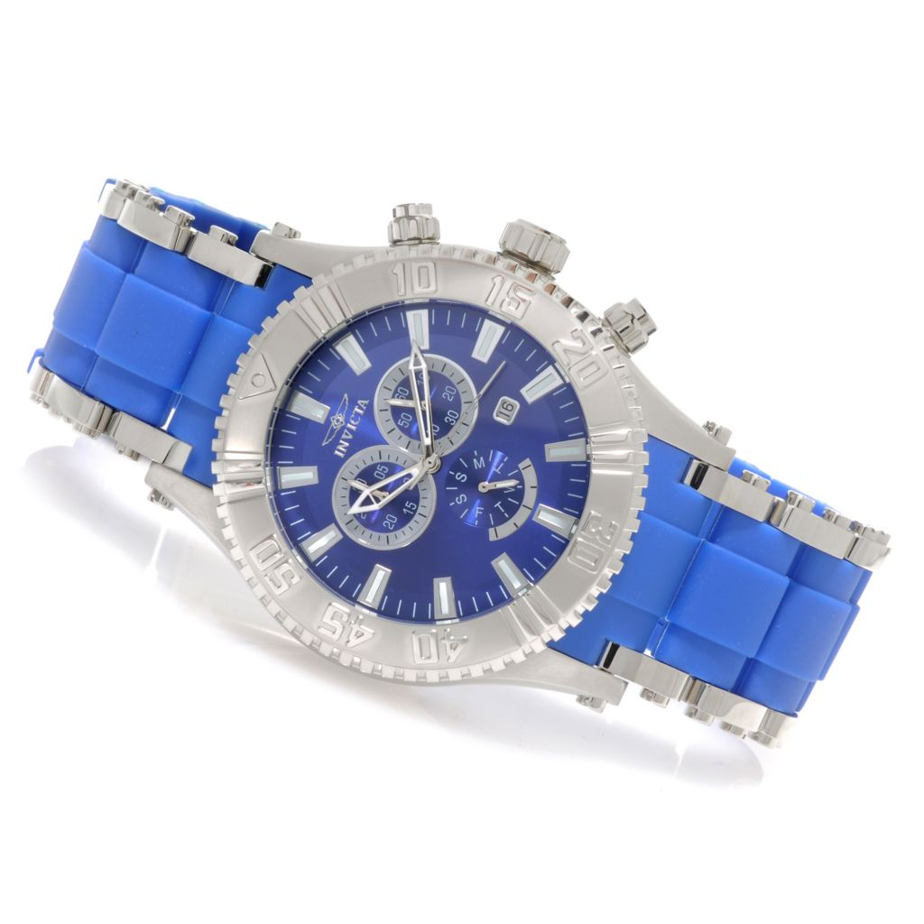 623-240 - Invicta 50mm Sea Spider Quartz Chronograph Stainless Steel Polyurethane Bracelet Watch