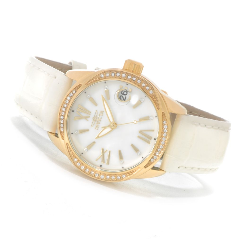623-247 - Invicta Women's Wildflower Quartz Crystal Accented Mother-of-Pearl Leather Strap Watch
