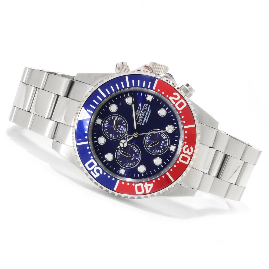 623-272 - Invicta Men's Pro Diver Quartz Chronograph Bracelet Watch w/Three-Slot Dive Case