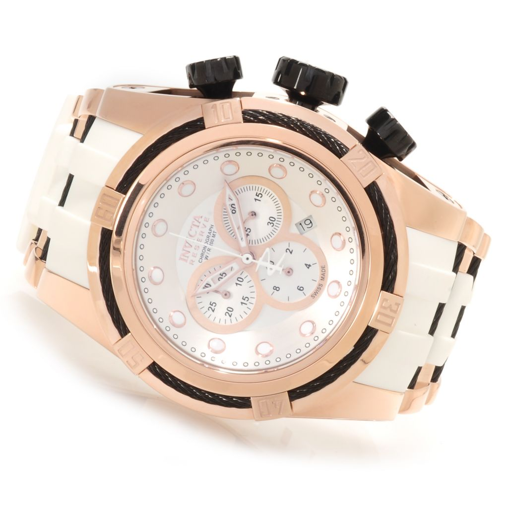 623-299 - Invicta Reserve 52mm Bolt Zeus Swiss Made Quartz Chronograph Polyurethane Strap Watch
