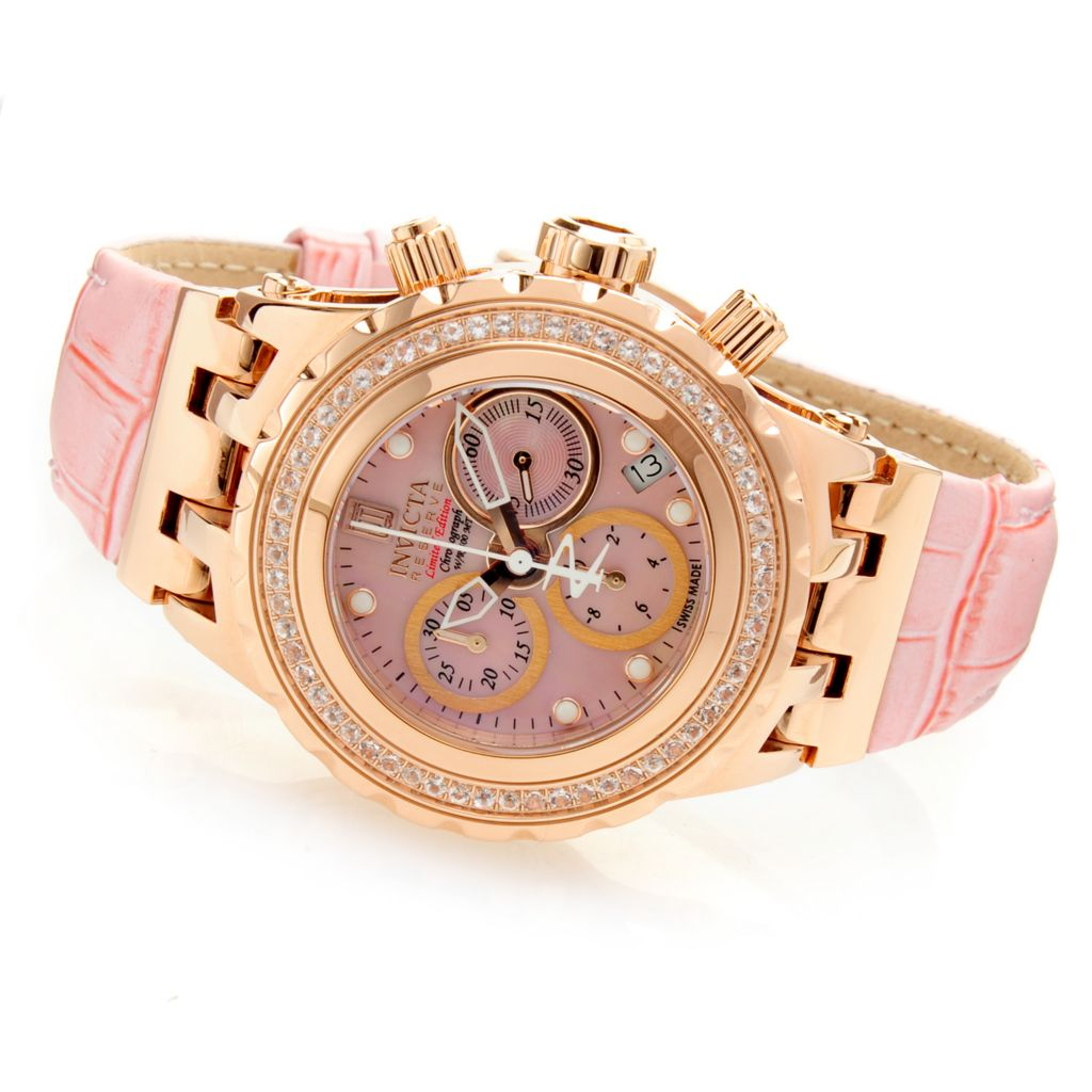 623-304 - Invicta Reserve Women's Jason Taylor Specialty Subaqua 0.78ct Morganite Swiss Leather Strap Watch