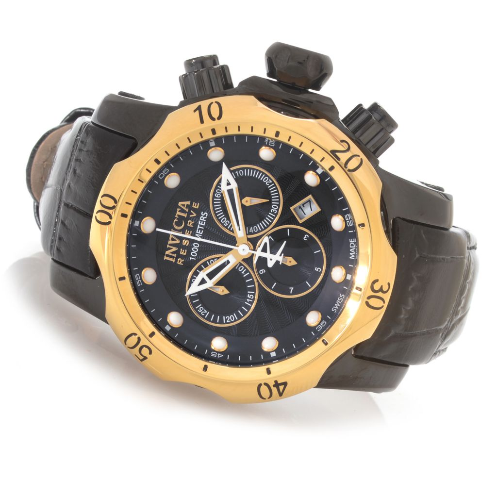 623-305 - Invicta Reserve 46mm Venom Swiss Chronograph Stainless Steel Leather Strap Watch w/ 1-Slot Dive Case