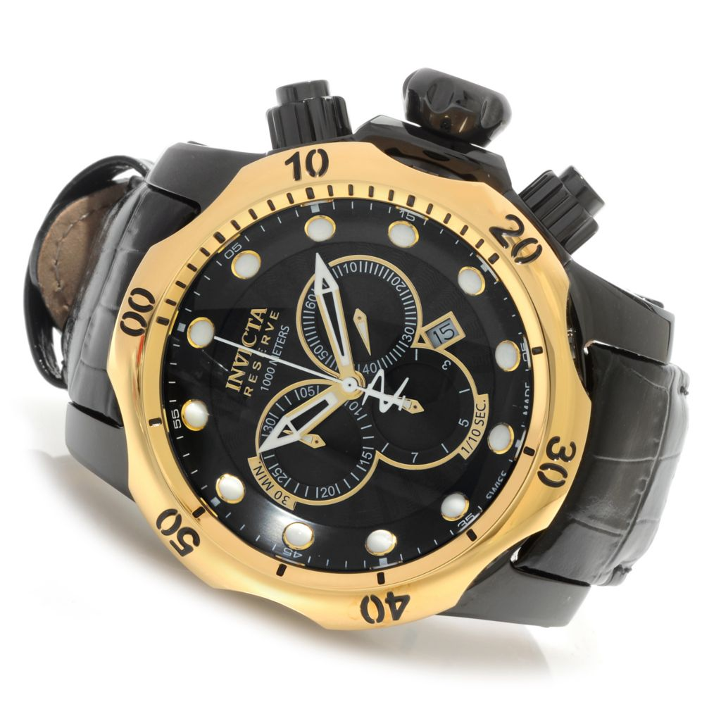 623-306 - Invicta Reserve 52mm Venom Swiss Made Quartz Chronograph Leather Strap Watch
