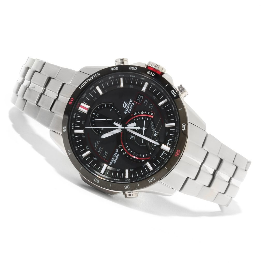 623-325 - Casio 42mm Edifice Solar Quartz Chronograph Stainless Steel Bracelet Watch