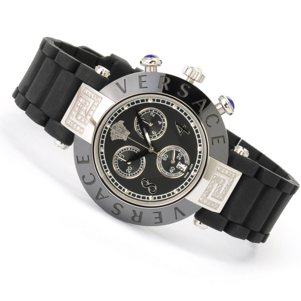 623-358 - Versace Women's Reve Swiss Made Quartz Chronograph Diamond Accented Rubber Strap Watch