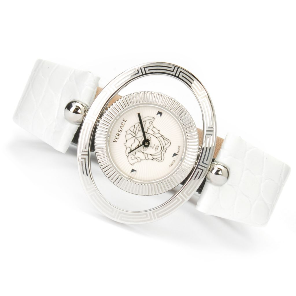 623-359 - Versace Women's Eon Swiss Made Quartz Stainless Steel Spinning Bezel Leather Strap Watch
