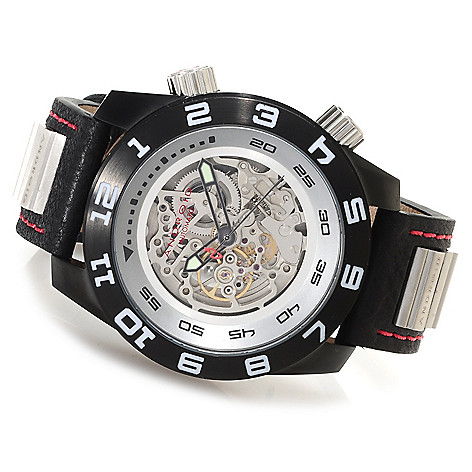 623-362 - Android Men's Octoploid Skeletonized Automatic Stainless Steel Leather Strap Watch