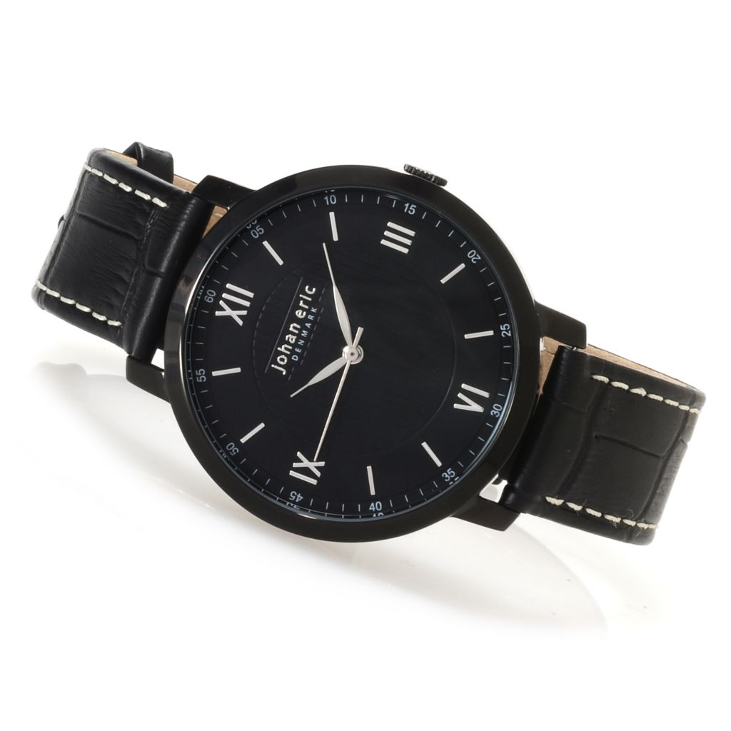 623-413 - Johan Eric Men's Koge Quartz Stainless Steel Genuine Leather Strap Watch