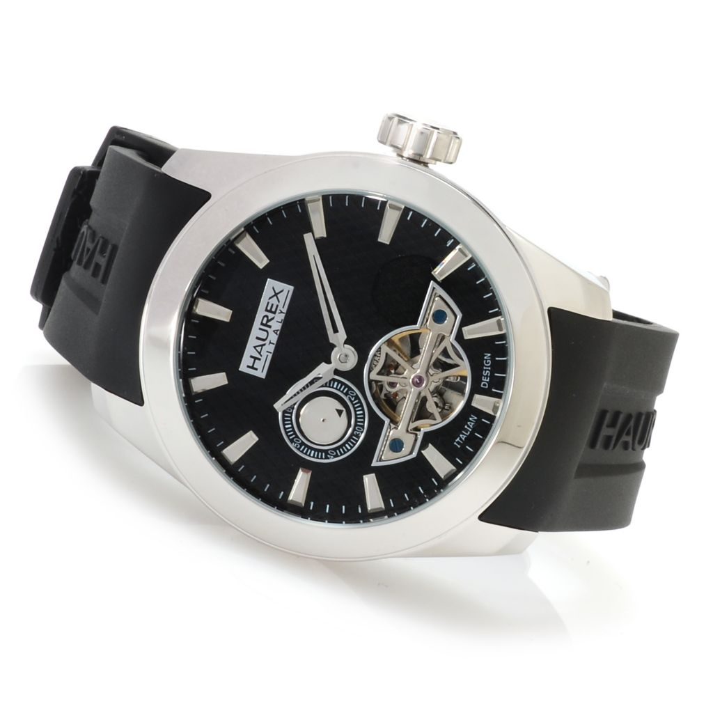 623-424 - Haurex Men's Magister Automatic Open Heart Stainless Steel Rubber Strap Watch
