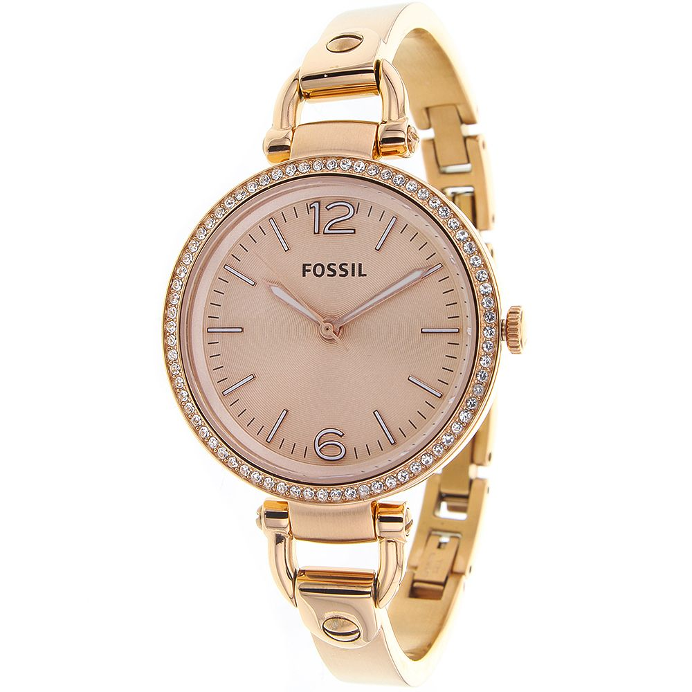 623-441 - Fossil Women's Georgia Quartz Rose-tone Stainless Steel Bracelet Watch
