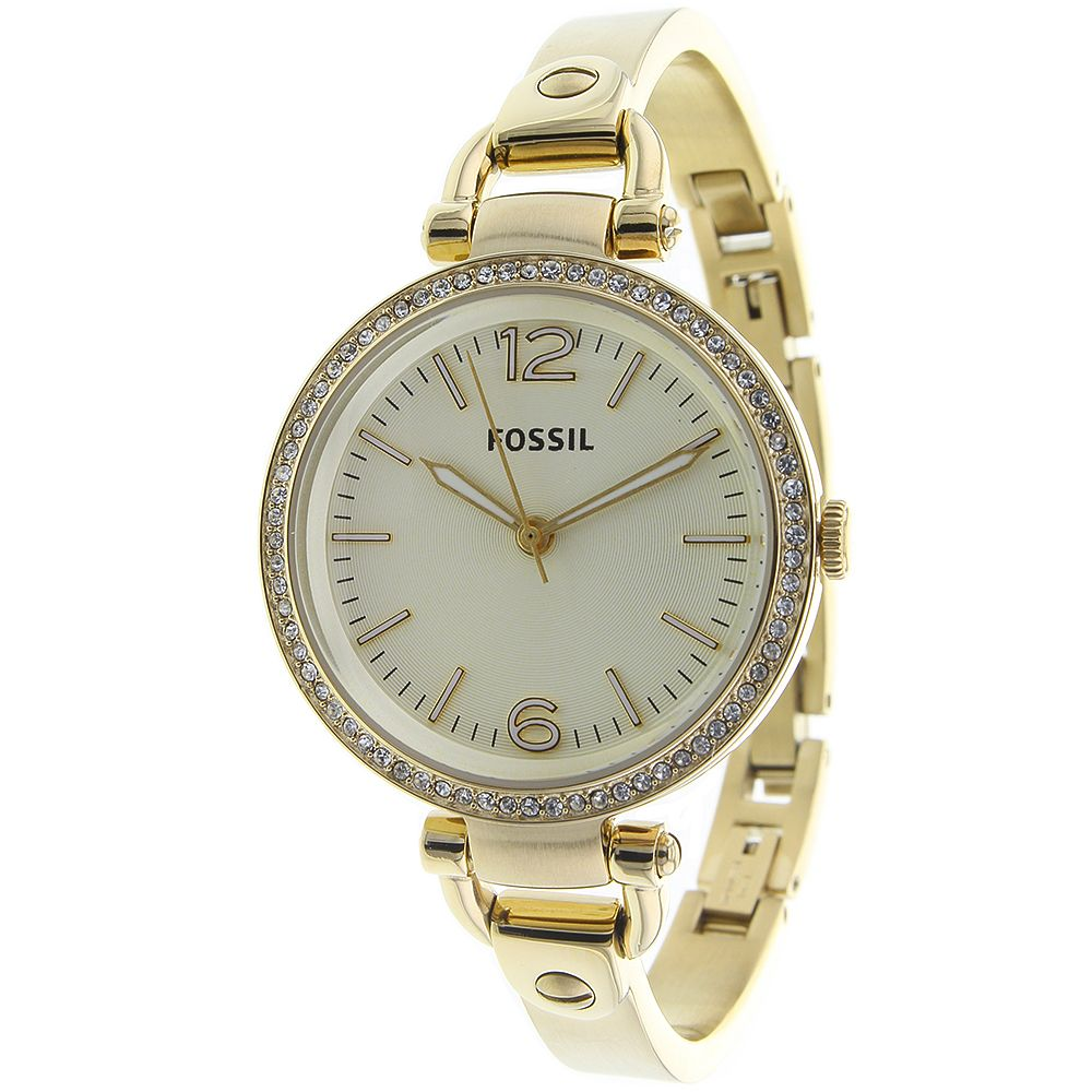 623-442 - Fossil Women's Georgia Quartz Crystal Accented Gold-tone Stainless Steel Bracelet Watch