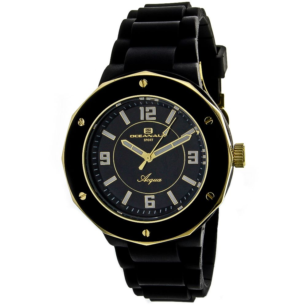 623-507 - Oceanaut Women's Acqua Quartz Black Rubber Strap Watch
