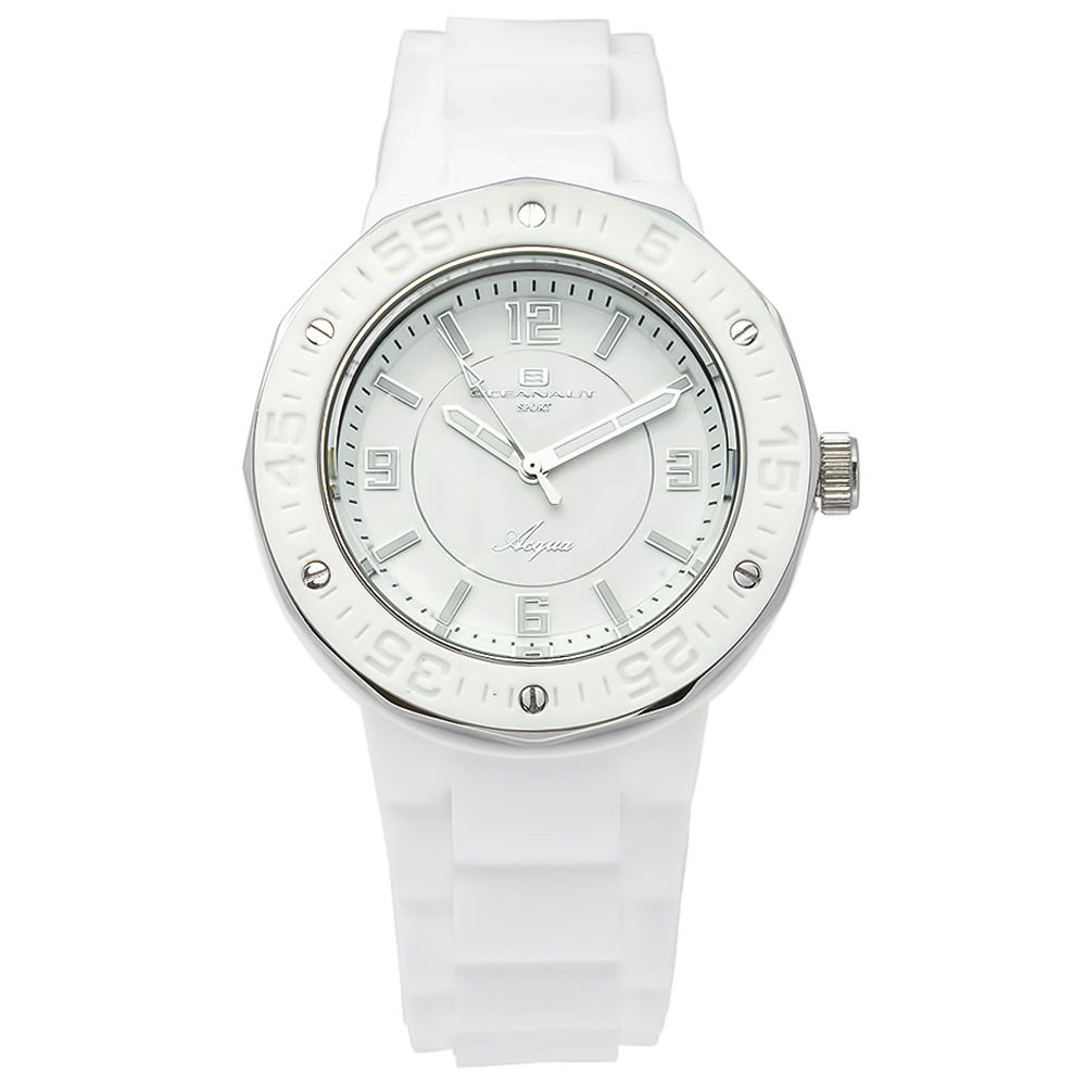 623-508 - Oceanaut Women's Acqua Quartz White Rubber Strap Watch
