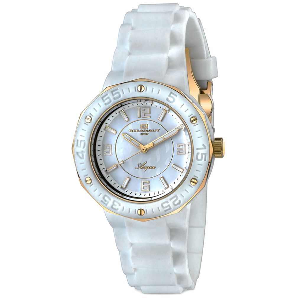 623-509 - Oceanaut Women's Acqua Quartz White Rubber Strap Watch