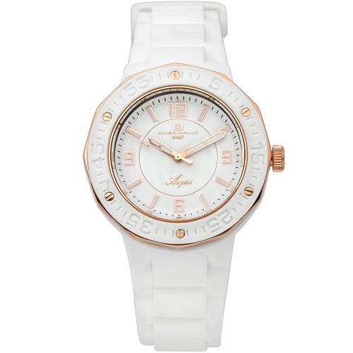 623-510 - Oceanaut Women's Acqua Quartz White & Rose-tone Rubber Strap Watch