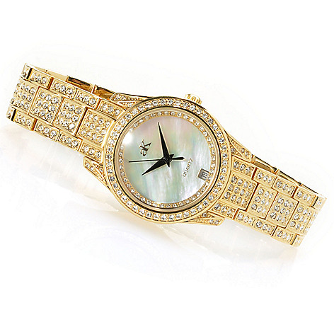 623-526 - Adee Kaye Royalty Quartz Mother-of-Pearl Crystal Accented Bracelet Watch