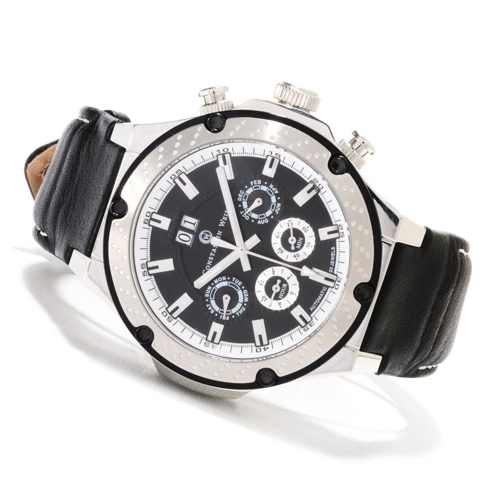 623-530 - Constantin Weisz Men's Automatic Stainless Steel Leather Strap Watch