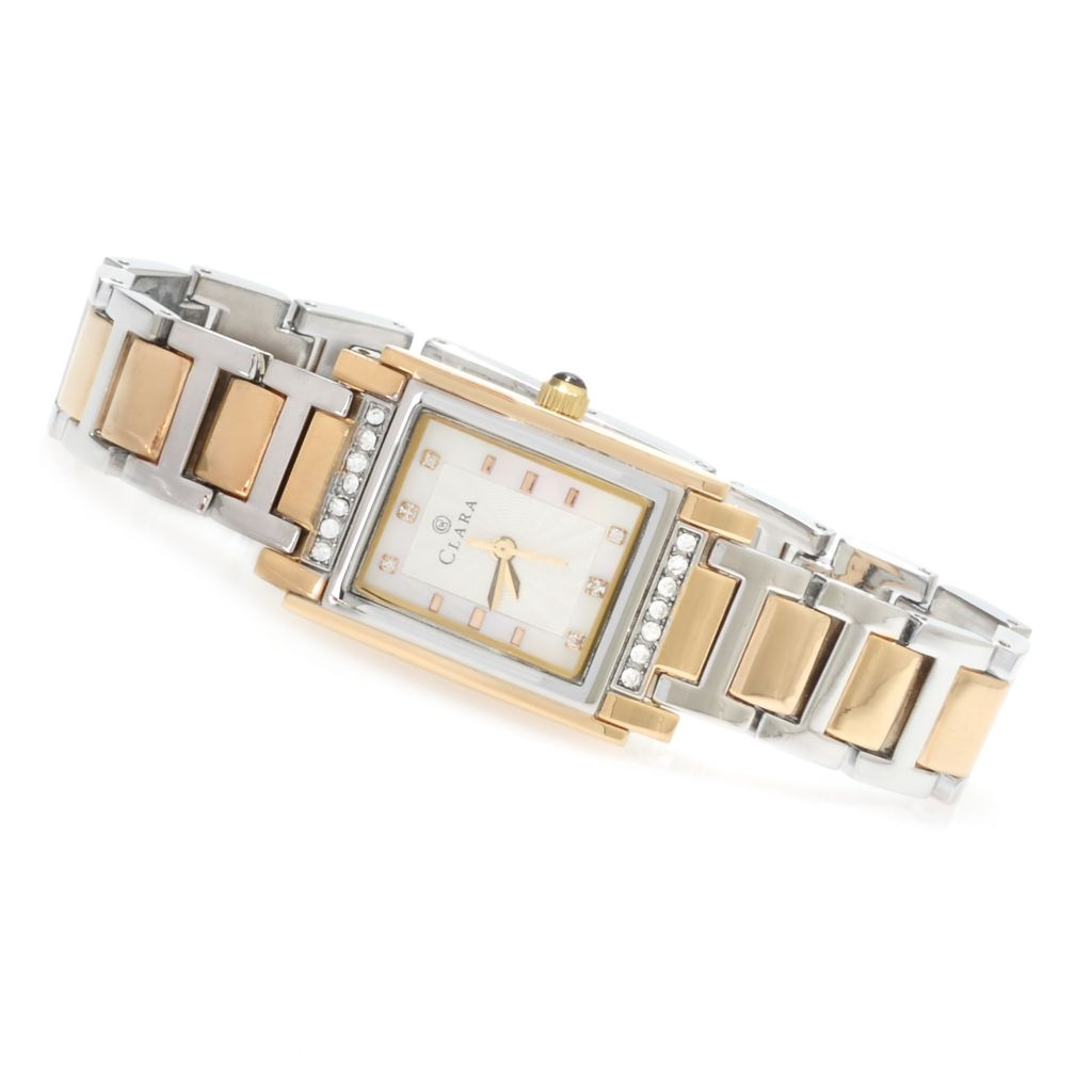 623-534 - Clara by CW Women's Quartz Crystal Accented Mother-of-Pearl Bracelet Watch