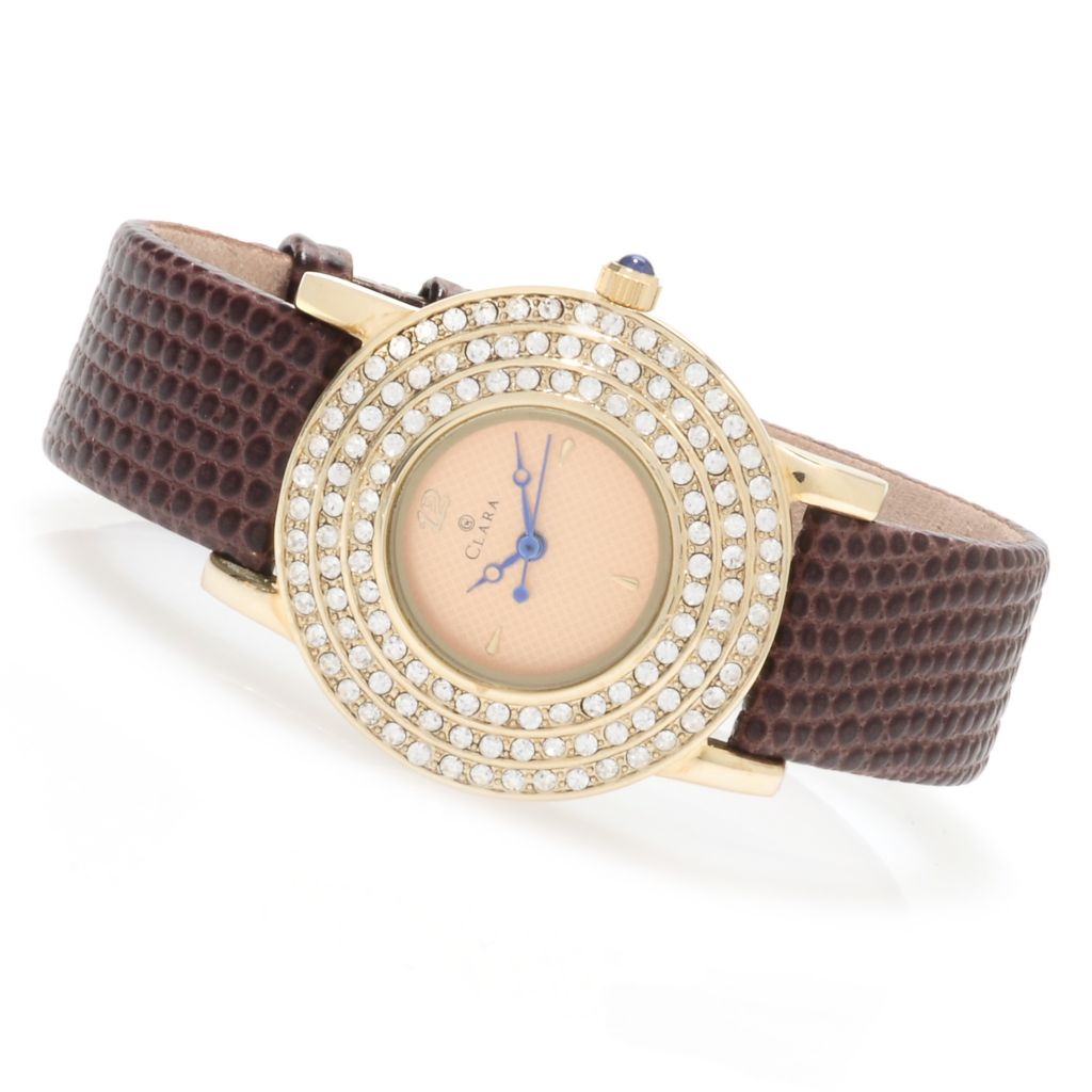 623-535 - Clara by CW Women's Quartz Crystal Accented Leather Strap Watch