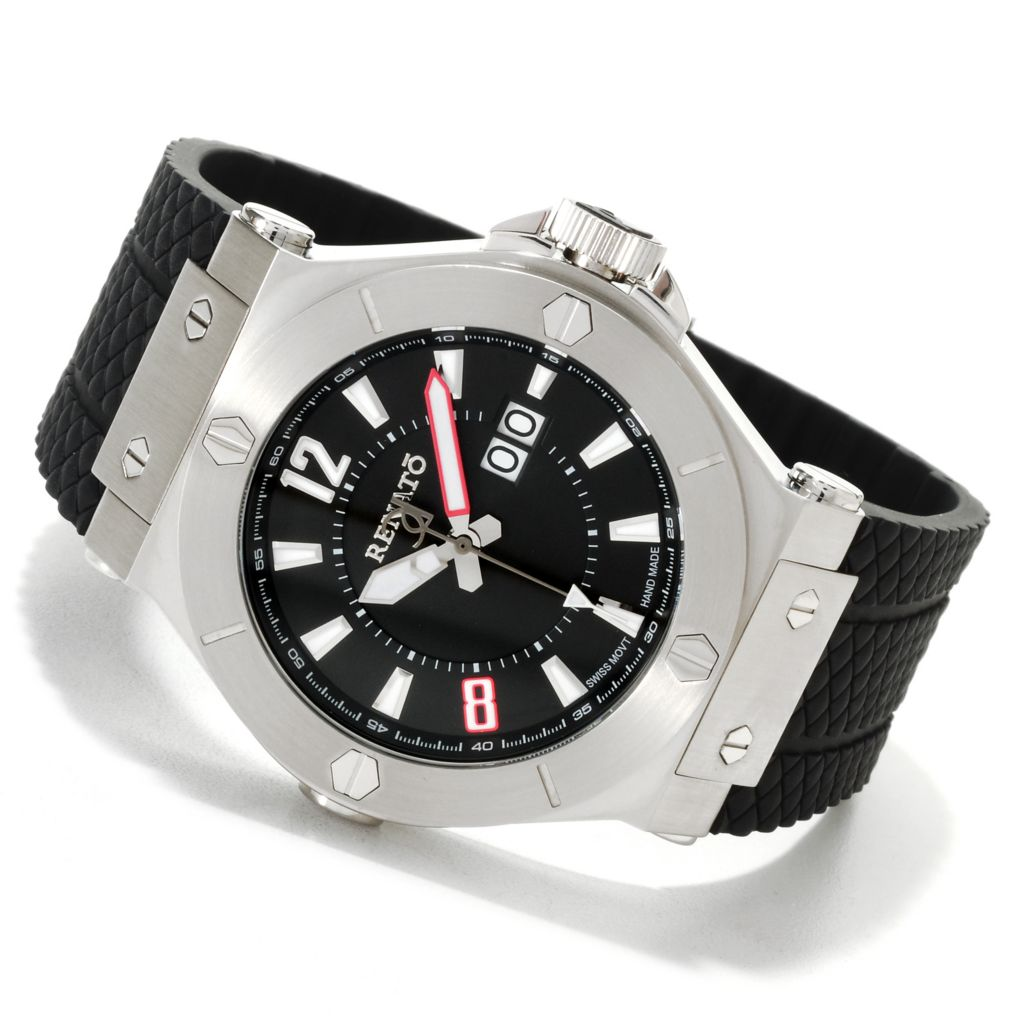 623-545 - Renato Men's Wilde-Beast Quartz Stainless Steel Rubber Strap Watch