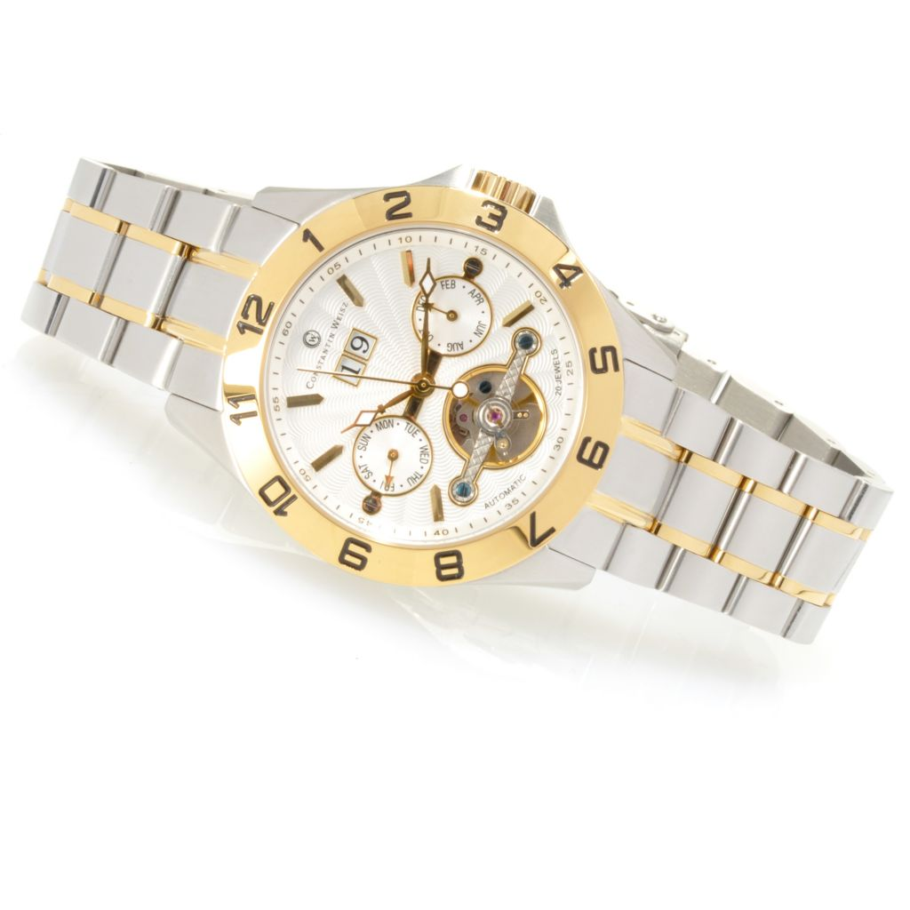 623-573 - Constantin Weisz Men's Automatic Multi Function Open Heart Stainless Steel Bracelet Watch