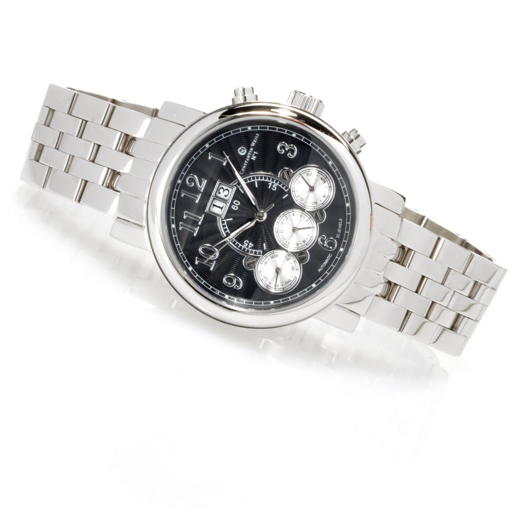 623-574 - Constantin Weisz Men's Automatic Multi Function Stainless Steel Bracelet Watch