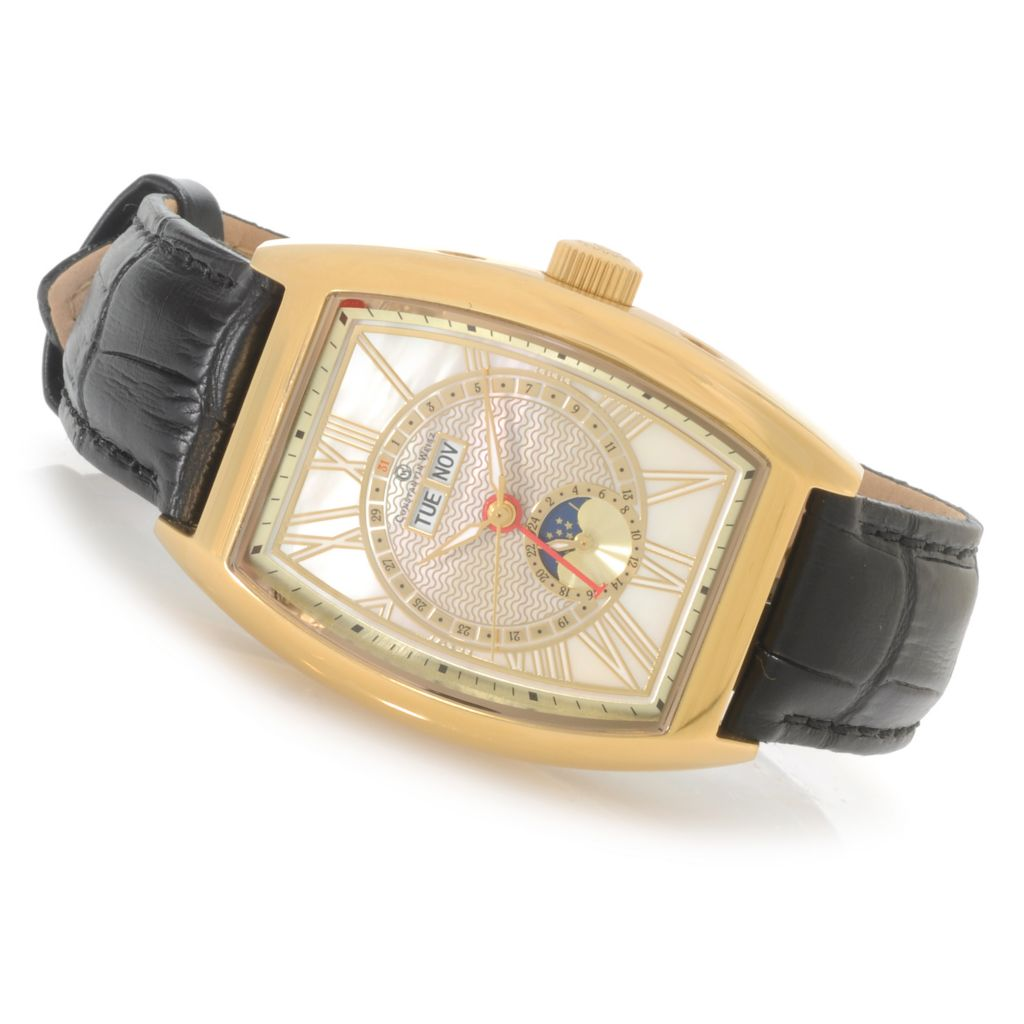 623-580 - Constantin Weisz Tonneau Automatic Multi Function Mother-of-Pearl Dial Leather Strap Watch