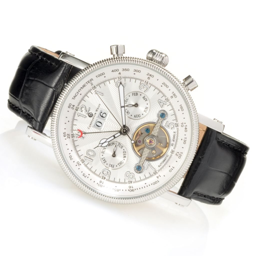 623-582 - Constantin Weisz Men's Automatic Open Heart Multi Function Leather Strap Watch