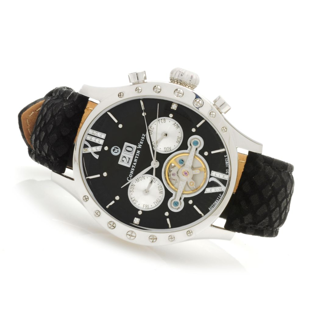 623-584 - Constantin Weisz Men's  Automatic Open Heart Multi Function Leather Strap Watch