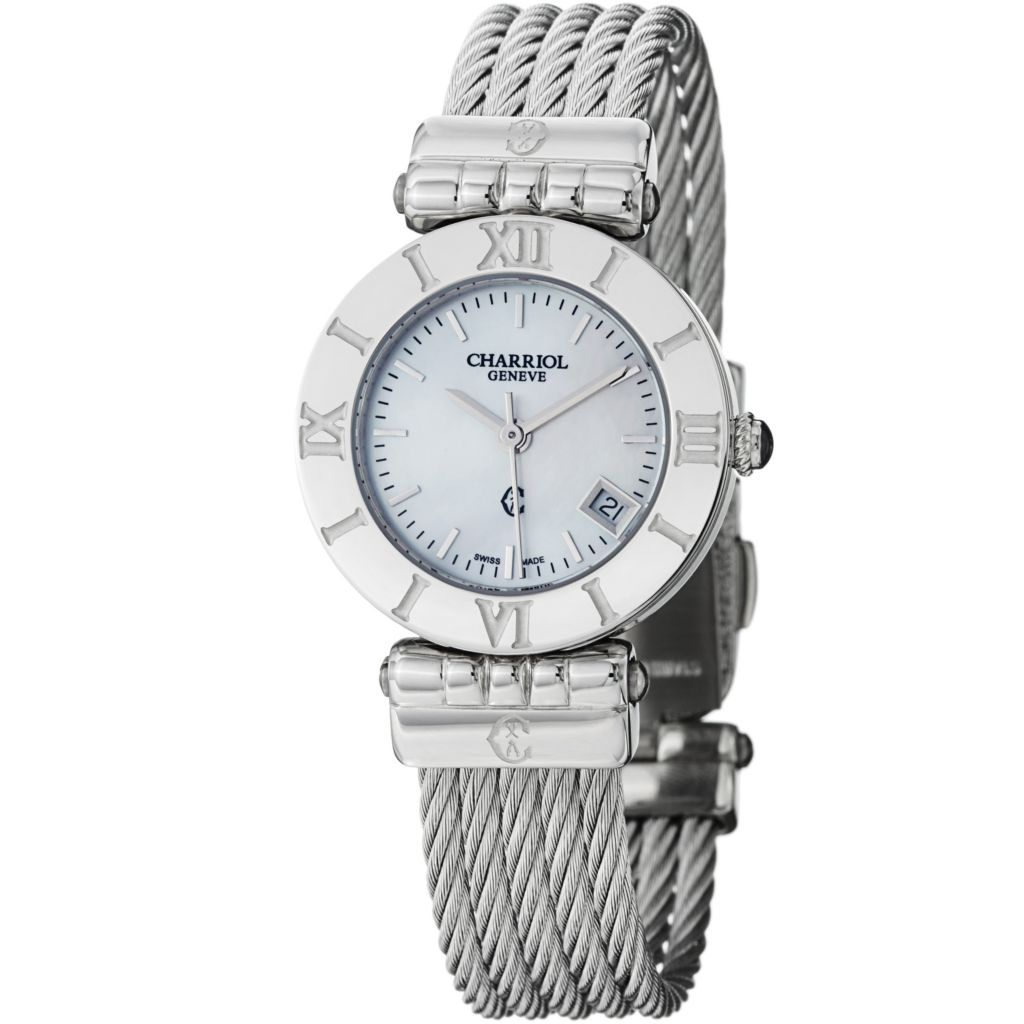 623-599 - Phillipe Charriol Alexandre Women's Swiss Made Mother-of-Pearl Stainless Steel Bracelet Watch
