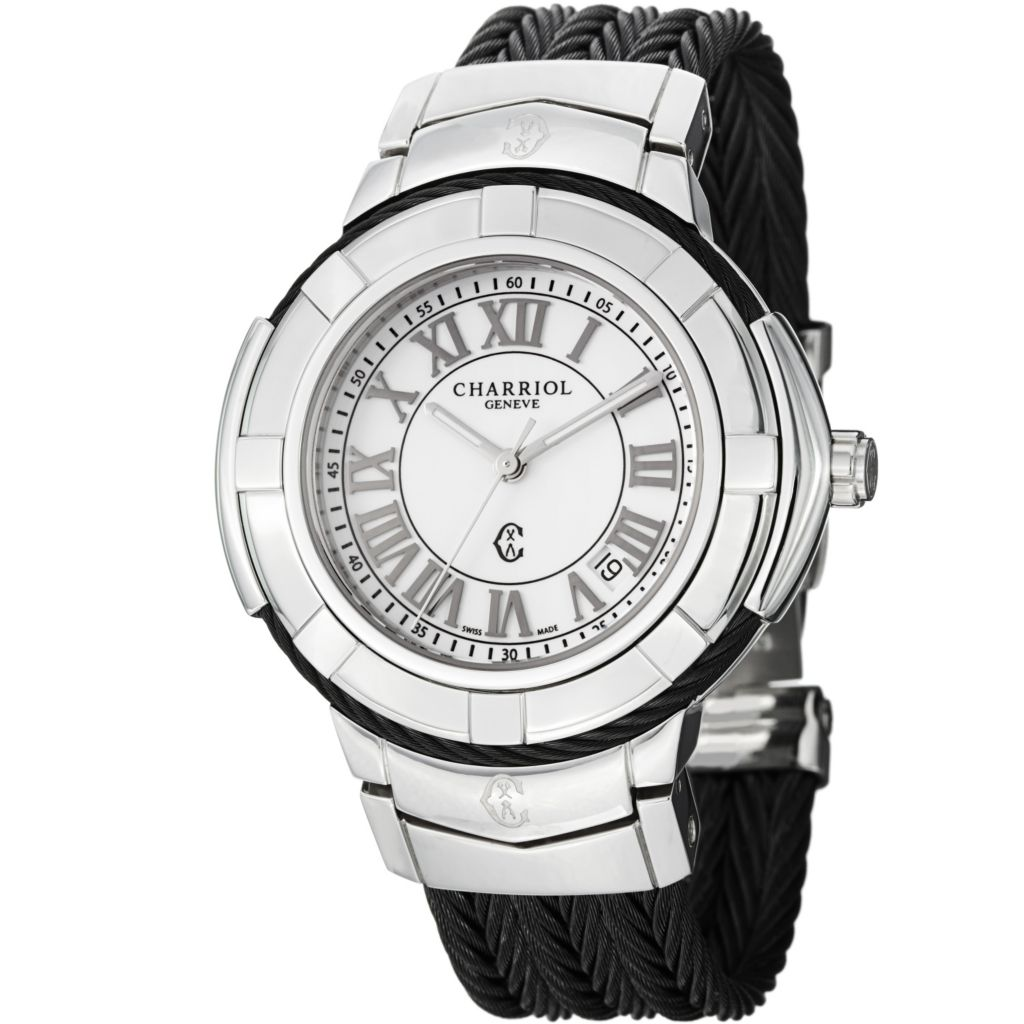 623-604 - Phillip Charriol Ladies White Dial Bracelet Watch