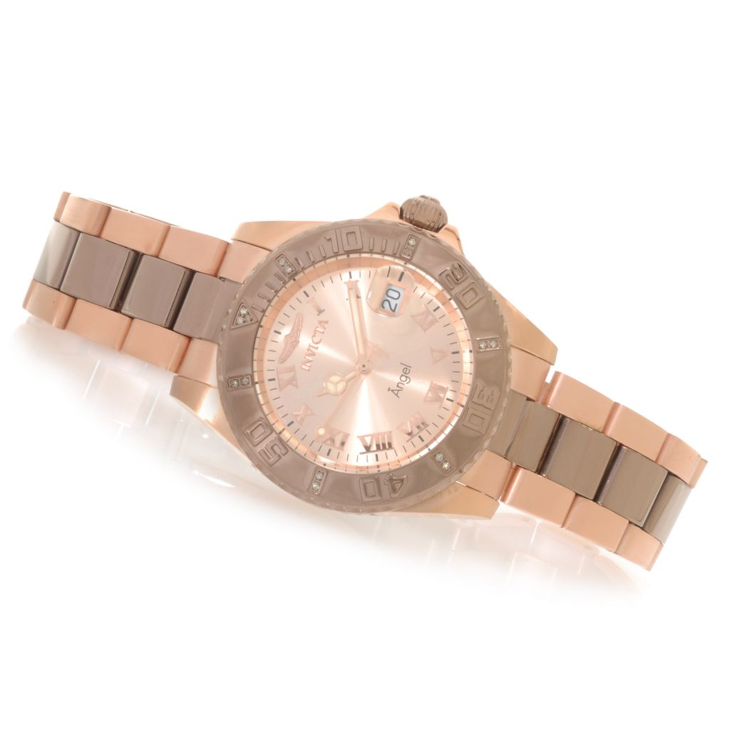 623-620 - Invicta Women's Angel Quartz Diamond Accented Bracelet Watch w/ Three-Slot Travel Case
