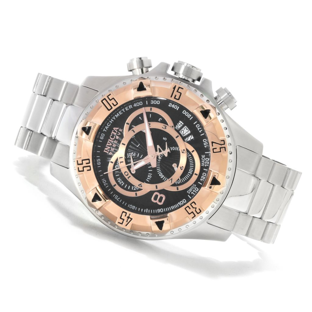 623-627 - Invicta Reserve 52mm Excursion Swiss Chronograph Bracelet Watch w/ Three-Slot Dive Case
