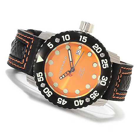623-644 - Android Mid-Size Divemaster Gauge Automatic Leather Strap Watch