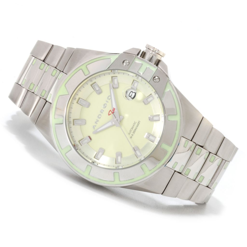 623-645 - Android 48mm Bioluminescence NH35 Automatic Stainless Steel Bracelet Watch