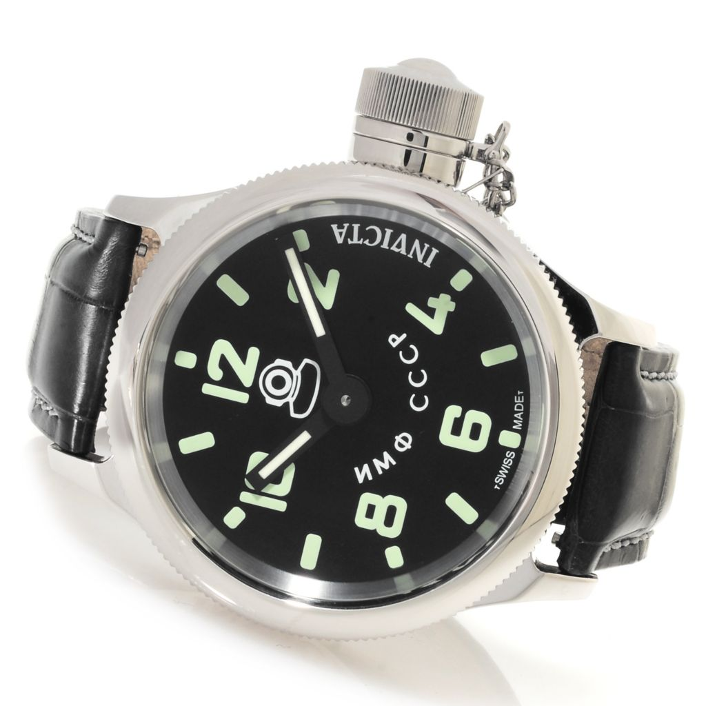 623-665 - Invicta Men's Russian Diver Mechanical Alligator Strap Watch