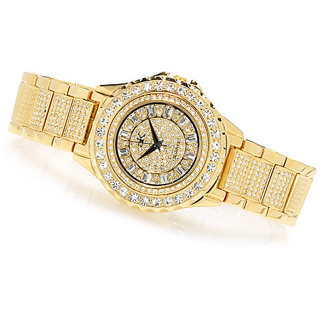 623-677 - Adee Kaye Women's Ice Collection Quartz Crystal Accented Bracelet Watch