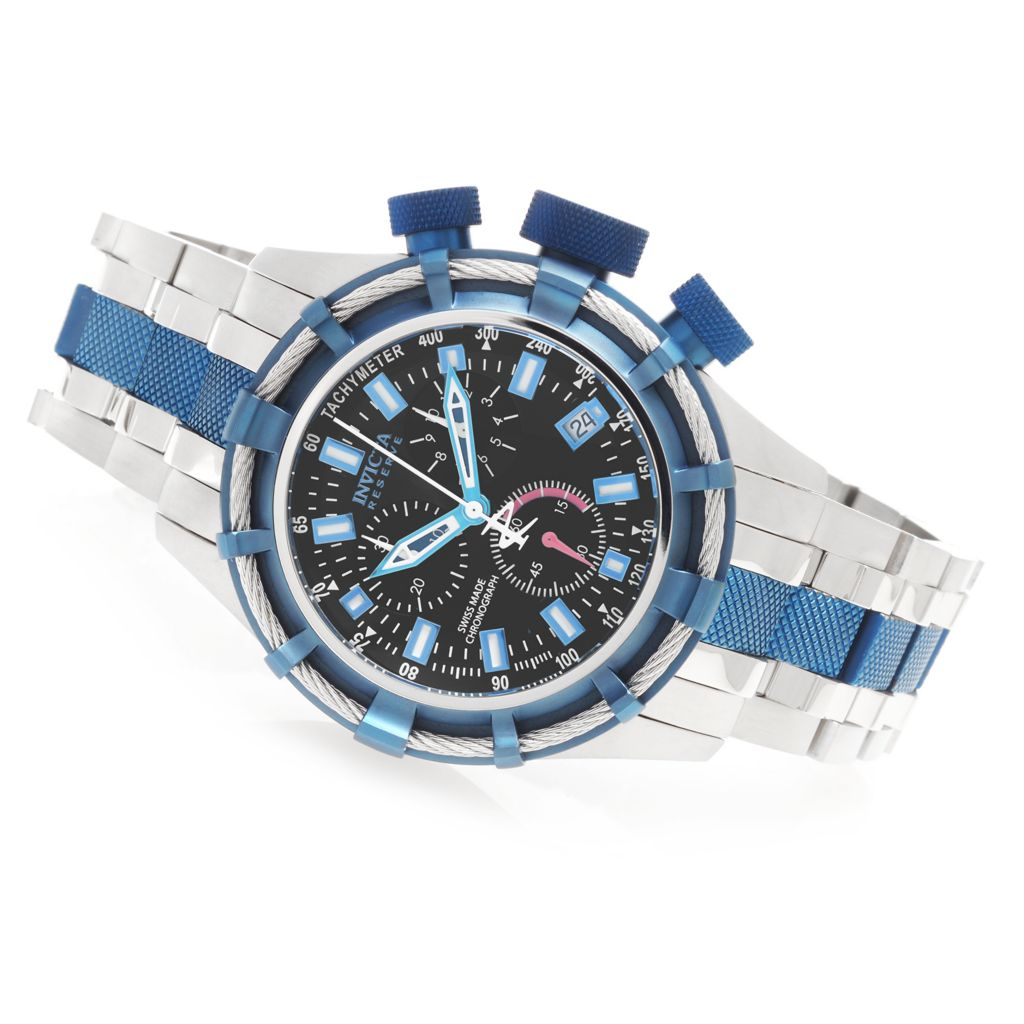 623-679 - Invicta Reserve 50mm Bolt Swiss Quartz Chronograph Bracelet Watch w/ One-Slot Dive Case
