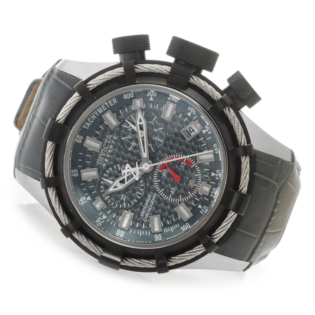 623-683 - Invicta Reserve 50mm Bolt Swiss Chronograph Carbon Fiber Dial Leather Strap Watch
