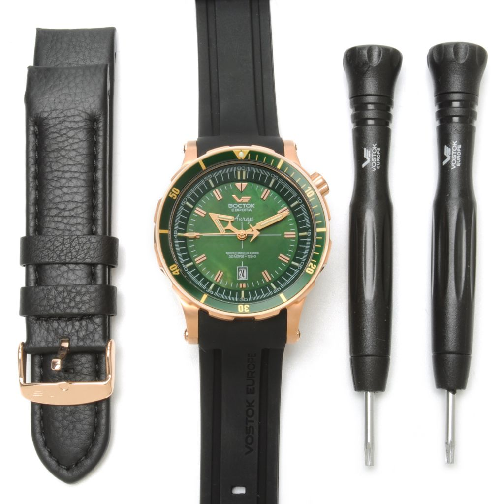 623-715 - Vostok-Europe Men's Anchar Limited Edition Automatic Rubber Strap Watch w/ Extra Strap & Tools