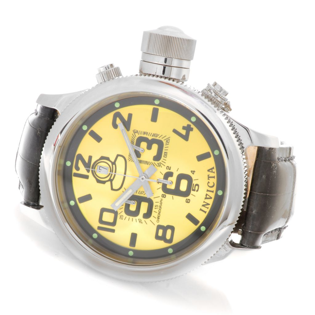 623-757 - Invicta Men's Russian Diver Quartz Chronograph Alligator Strap Watch