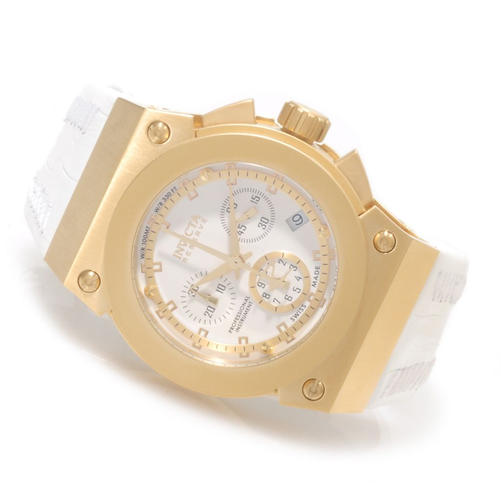 623-770 - Invicta Reserve Women's Akula Swiss Made Quartz Chronograph Leather Strap Watch