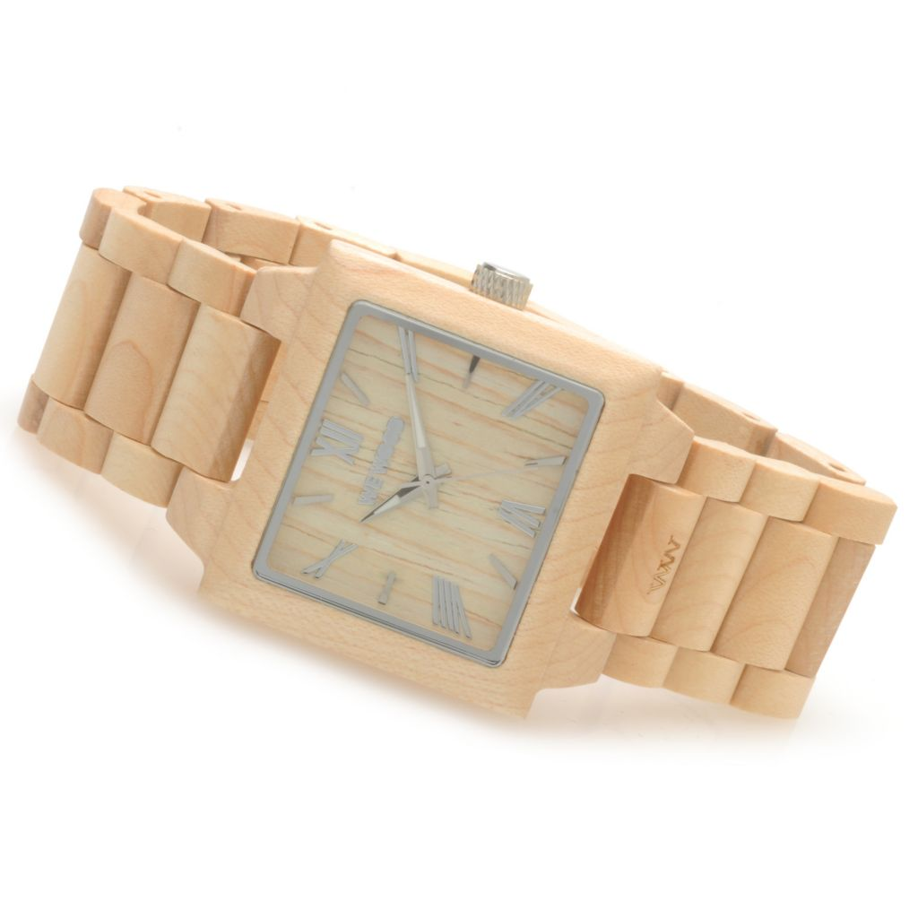 "623-780 - WeWOOD Rectangular ""Callisto"" Quartz Wooden Bracelet Watch"