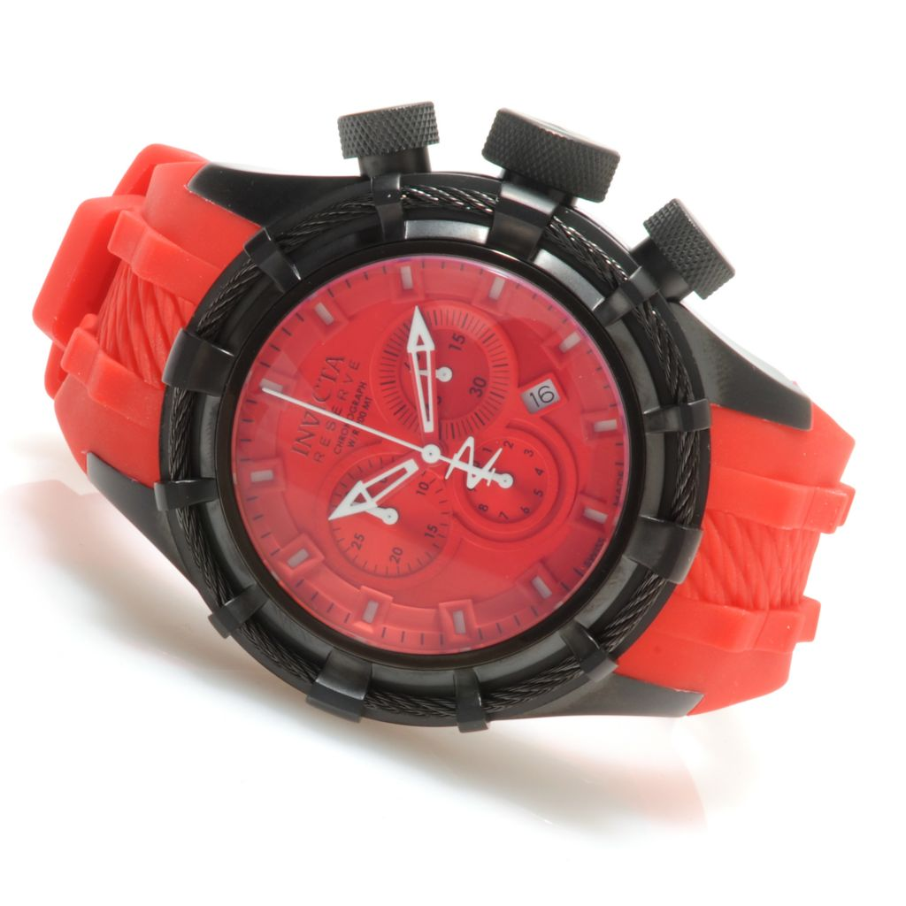 623-785 - Invicta Reserve Men's Bolt Swiss Chronograph Silicone Strap Watch w/ Three-Slot Dive Case
