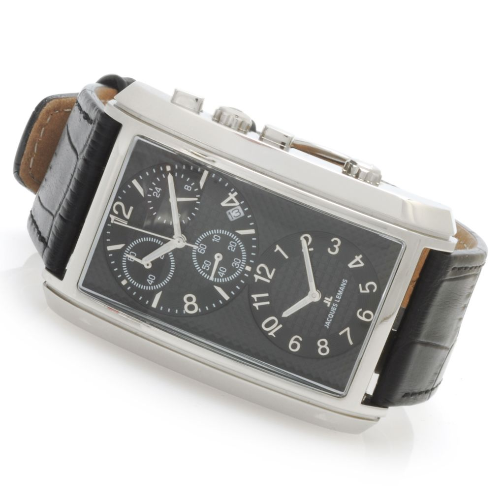 623-825 - Jacques Lemans Men's Classic Format Quartz Dual Time Leather Strap Watch