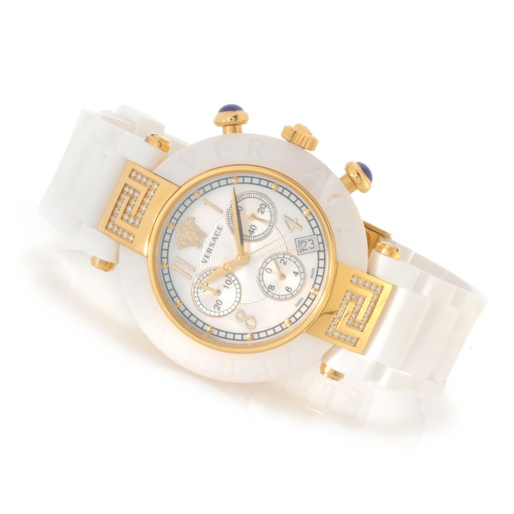 623-836 - Versace Women's Reve Diamond Swiss Made Quartz Chronograph Rubber Strap Watch