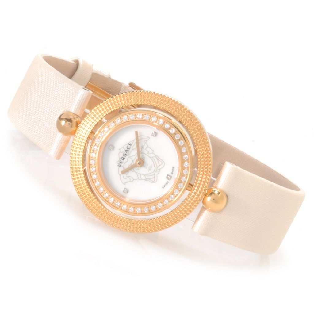 623-838 - Versace Women's Eon Swiss Made Quartz Stainless Steel Leather Strap Watch